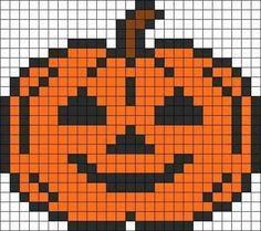 Jack o lantern -- perler beads Melty Bead Patterns, Pearler Bead Patterns, Perler Patterns, Beading Patterns, Kandi Patterns, Hama Beads Halloween, Halloween Crochet, Beaded Cross Stitch, Cross Stitch Embroidery