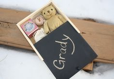 Take care of the little ones at your wedding :) with a kid's activity kit in a wooden box with blackboard lid!