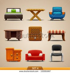 Illustration Of Bedroom Furniture Flat Icons Set With Bed Lamp Armchair Isolated Vector Art Clipart And Stock Vectors