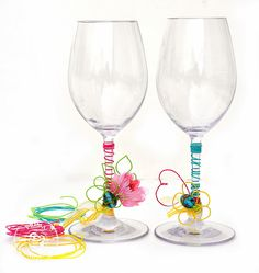 Scrap Escape blog: Prima Marketing's new  Wire Thread.  I made these fun Wine Glasses (using plastic wine glasses to take anywhere quickly)  super easy DIY project