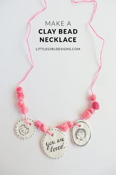 Make a Clay Bead Necklace - this necklace is perfect for dress up! Air-dry clay is so easy to work with--you'll have fun making this super-fast craft @littlegirldesigns.com
