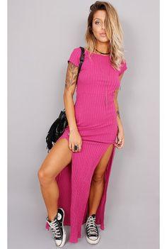 Vestido Canelado Fashion com Fendas - fashioncloset