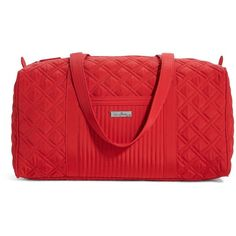 Vera Bradley Small Duffel Bag in Tango Red ($88) ❤ liked on Polyvore featuring bags, luggage, new arrivals and tango red