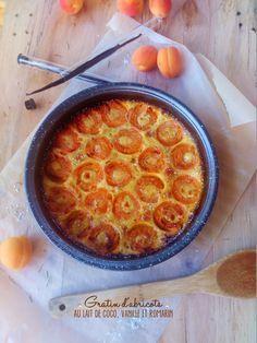 Gratin d'abricots au lait de coco, vanille et romarin