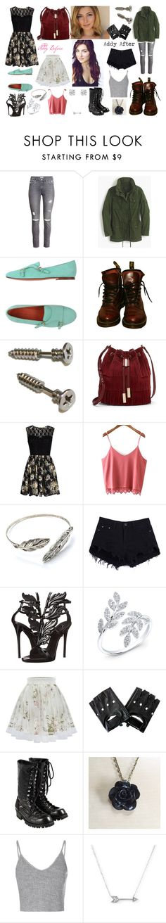 """Addy from Z Nation"" by ghostmentality ❤ liked on Polyvore featuring H&M, J.Crew, Santoni, Dr. Martens, Vince Camuto, Mela Loves London, Anastasia, Giuseppe Zanotti, Comme des Garçons and Glamorous"