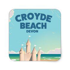 CROYDE BEACH Devon Vintage travel poster Square Sticker