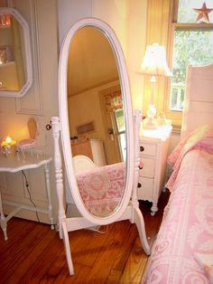 Hand Painted Mint Green Cheval Oval Mirror Full Body Length Wood ...