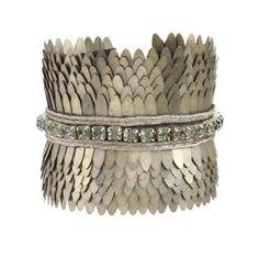 LIBASTYLE.COM: Jewelry - Bracelet - Deepa Gurnani - The Scales Cuff - Metal scales cuff in Silver and antique gold