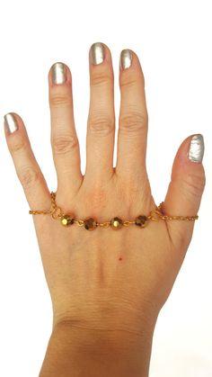 Slave bracelet finger bracelet gold beaded by NotYourMomsJewellery Slave Bracelet, Ring Bracelet, Golden Color, Ring Finger, Gold Beads, Beaded Bracelets, Chain, Gifts, Etsy