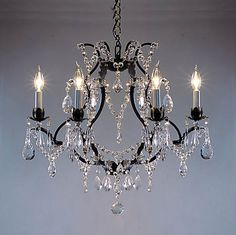 A83-3030/6 Wrought Iron Chandelier Chandeliers, Crystal Chandelier, Crystal Chandeliers, Lighting