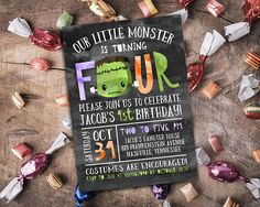 4th Birthday Frankenstein Invitation // Personalized Printable