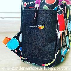 mi rincón de mariposas: Mochila MRdM (con patrón) Diaper Bag, Lunch Box, Handmade, Diy, Bags, Ideas, Fabric Purses, Templates, Backpack Sewing Patterns