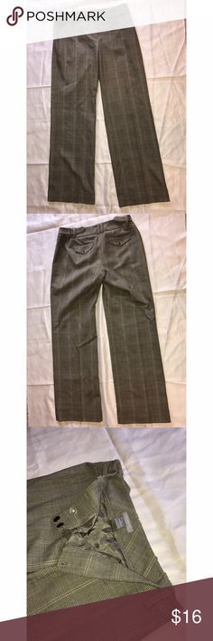 ANN TAYLOR Tan Plaid Dress Pants Tan plaid dress pants/slacks/trousers, In good shape, There were given to me but are too big for me Ann Taylor Pants Trousers