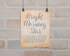 Bible Verse printable, Names of God, Bright Morning Star, Revelation 22:16, Christian print