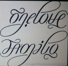 Ambigram tattoo: Family and OneLove
