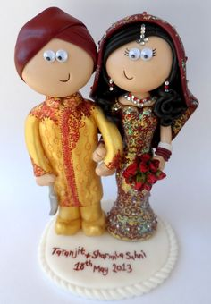Personalised Asian Wedding Cake Topper Made To Look Like You Googlygiftsco