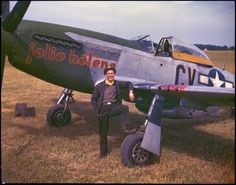 """Lt. William B. Foster standing next to his P-51D named """"Jolie Helene"""""""