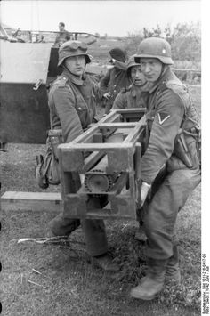 A example showing the size of a rocket fired from a Nebelwerefer Rocket that were fired from crates mounted to the sides if the SdKfz 251 halftrack known as the 'Wurfrahmen 40'