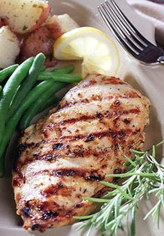 Lemon-Dijon Chicken - If you're tired of grilled chicken marinated in the same old bottled teriyaki or store-bought marinades, this recipe is for you.