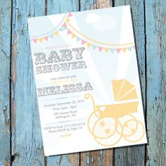 Vintage+Pram+Baby+Shower+Invitation+for+a+Boy+by+SunshineParties,+$5.00