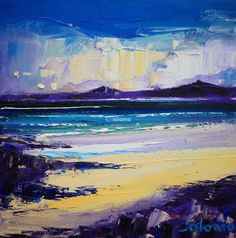 Horgabost Beach, Isle of Harris ~ Scottish artist ~ Jolomo. Seascape Art, Abstract Canvas Art, Impressionism Art, Impressionist, Abstract Landscape, Landscape Paintings, Pictures To Paint, Painting Inspiration, Acrylics