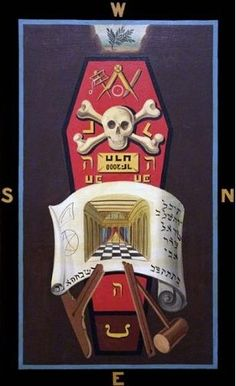 Master Mason 3rd degree Masonic Symbolic Plate art chart trestle tracing board