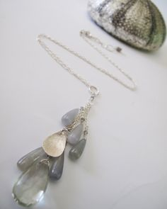 land locked mermaid necklace, 9ct praisiolite briolette, umba sapphire briolettes, sterling silver, adove fine jewelry