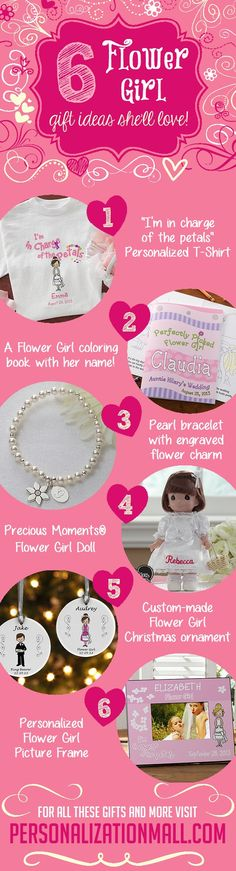 6 Flower Girl gift ideas she'll love - this site has the greatest wedding gifts and ideas!