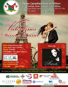 Valentine's Diner at the Italian Canadian Club Of Milton Friday February 15th.  www.iccm.ca Food Stations, February 15, Diners, Friday, Club, Food Dinners, Restaurants