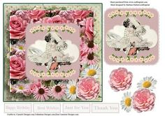 ConeFlowers Daisys Vintage Lady Card Topper Decoupage on Craftsuprint - Add To Basket!