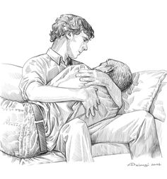 "Sherlock comforts John after the loss of Mary. Source: alessiapelonzi.tumblr.com Click through for a rather lovely ficlet about the picture. ""I did not know how to reach him, how to catch up with him… The land of tears is so mysterious."" Antoine de Saint-Exupéry, The Little Prince"