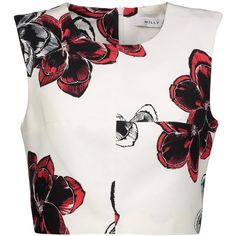 - Milly white, red and black top - Floral-print cotton-blend - Fully lined - Concealed zip fastening along side - 66% cotton, 34% viscose; lining: 96 polyester…