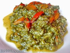 Spanac cu orez (mancare de post) Palak Paneer, Guacamole, Vegetarian Recipes, Good Food, Food And Drink, Low Carb, Vegan, Chicken, Ethnic Recipes