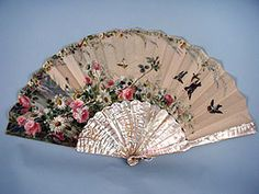 Signed, Hand Painted Mop Fan, c. 1890<br /> Session 1 - Lot 22 - $250