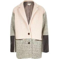 Girls pink colour block swagger coat - coats - coats / jackets - girls