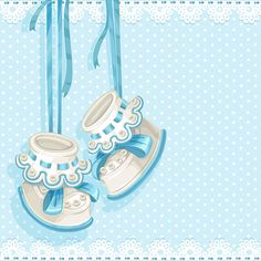 Baby shower card with blue booties and lace [преобразованный]
