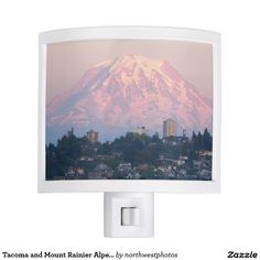 Tacoma and Mount Rainier Alpenglow Photo Night Lights