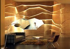 steven holl, light cracks, wood veneer wall, reception, modern, retail, drama, lighting