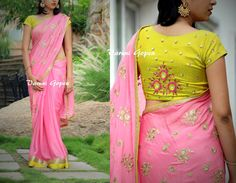 Beautiful blueh pink color designer saree and blouse with floral design hand embroidery gold thread and kundhan work.