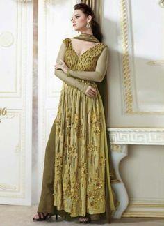 Mahendi Green Heavy Embroidery Work Pakistani Fancy Suit