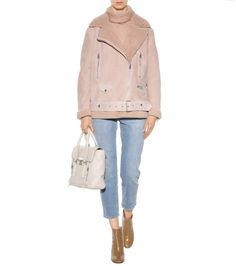 More nude beige shearling-lined suede jacket