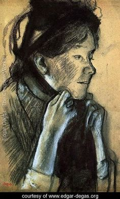 Woman Tying the Ribbons of Her Hat - Edgar Degas - www.edgar-degas.org