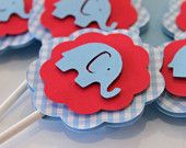 Baby Blue Gingham and Red Elephant Cupcake Toppers Boy Birthday Baby Shower Party Decorations
