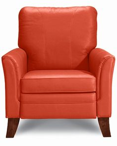 add some color to the living room - Riley High Leg Recliner by La-Z-Boy in Coral leather-