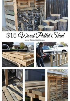 $15 Wood Pallet Shed - The author spent $15 on this DIY pallet project, but I think we can do it for nothing!