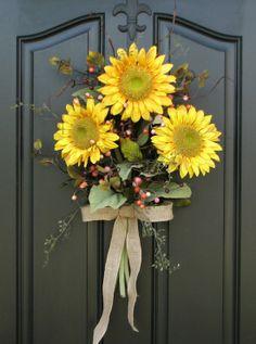 Sunflower Bouquet  Front Door Decor  Summer wreath by twoinspireyou