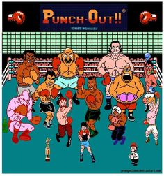 Punch-Out!, originally released in North America as Mike Tyson's Punch-Out! NES By Nintendo). Vintage Video Games, Classic Video Games, Retro Video Games, Vintage Games, Video Game Art, Retro Games, Street Fighter 2, Nes Games, Arcade Games