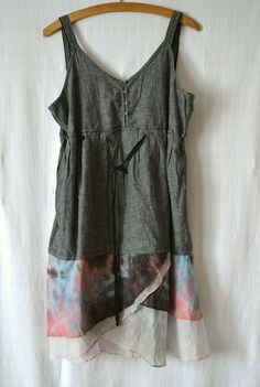 upcycled+clothes | dress, upcycled clothing, gray color, cotton and linen dress, gray ...