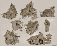 ArtStation - Will Weston's assignment: Shack sketches, Wavenwater Michael Guimont Bg Design, Prop Design, Building Art, House Drawing, Character Design Animation, Animal Sketches, Visual Development, Environment Design, 2d Art