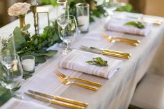 La Tavola Fine Linen Rental: Harbor Stripe Tan Table Runner and Napkins with Tuscany Limestone Linen | Photography: Cameron Ingalls, Venue: Dana Powers House & Barn, Floral Design: April Flowers, Coordination: Judi Powers, Rentals: All About Events